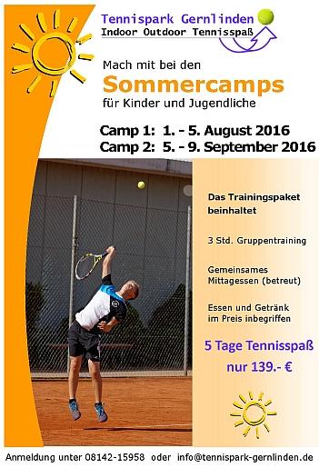Plakat Tennis-Feriencamp 2016
